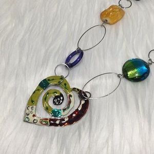 """Jewelry - Multi-Colored Abstract Heart Necklace - 34"""""""